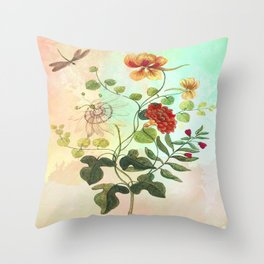 Simply Divine, Vintage Botanical Illustration Throw Pillow