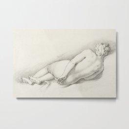 Abraham Bloemaert - Study of a Reclining Female Nude (1645) Metal Print