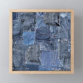 Blue Jeans Pocket Patchwork Pattern Framed Mini Art Print