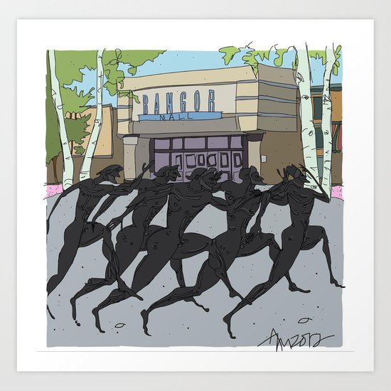 """I'm just gonna run in"" (Bangor Maine Mall) Art Print"