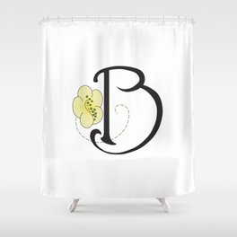 Ruby's Flower Initials - B Shower Curtain