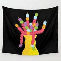 hot dog Wall Tapestries featuring Hot Dog Vase by Kamolsky