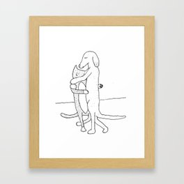 Dog and Cat Slowdancing Framed Art Print