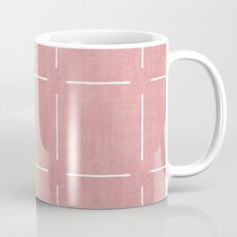 Block Print Simple Squares in Coral Coffee Mug