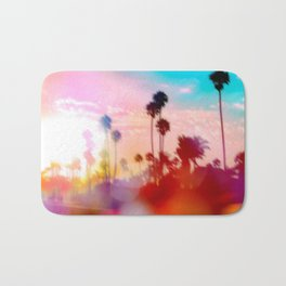 palm tree with sunset sky and light bokeh abstract background Bath Mat