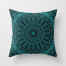 Teal Mandala Throw Pillow