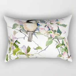 Chickadee and Dogwood Flowers Rectangular Pillow