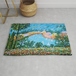 Portofino Harbor and Flowers Landscape Painting Rug