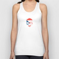 puerto rico Tank Tops featuring Flag of Puerto Rico on a Chaotic Splatter Skull by Jeff Bartels