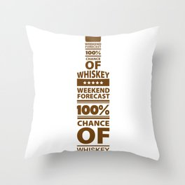 Weekend Forecast 100% Chance of Whiskey Throw Pillow