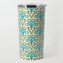 Floral Scallop Pattern Sage and Turquoise Travel Mug