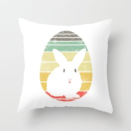 Have This Nice Vintage Retro Design With A Silhoutte Of A Cute Rabbit T-shirt Design Easter Eggs Throw Pillow