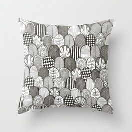 black and white scaley pattern Throw Pillow
