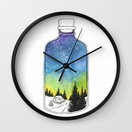 Bottled Summer: Corked Bottle Camping Wall Clock