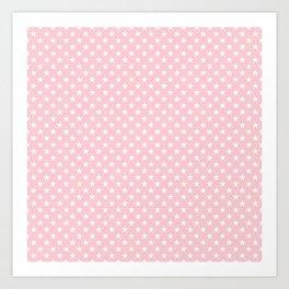 White Pointed Stars on Millennial Pink Pastel Art Print