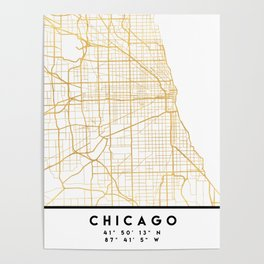 CHICAGO ILLINOIS CITY STREET MAP ART Poster