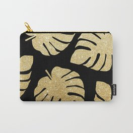 Gold Glitter Monstera Leaves Pattern Carry-All Pouch