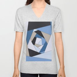 Abstract Blues Geometric Layers Unisex V-Neck