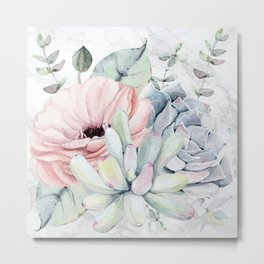 Pretty Succulents on Marble by Nature Magick Metal Print