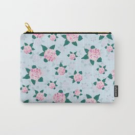 Elegant Pink Blooming Hydrangea Floral Carry-All Pouch
