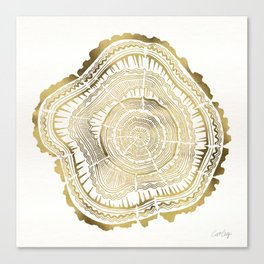 Gold Tree Rings Canvas Print