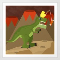 dinosaur Art Prints featuring dinosaur by Nir P