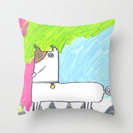 Dewey the dog Throw Pillow