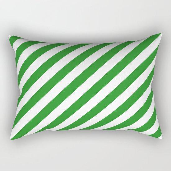 Diagonal Stripes (Forest Green/White) Rectangular Pillow