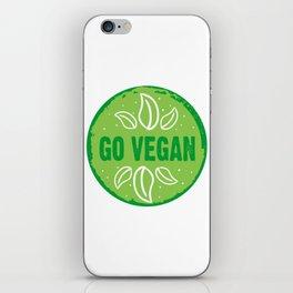 GO VEGAN, green circle iPhone Skin