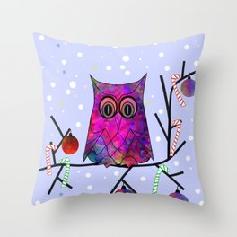 The Festive Owl Throw Pillow