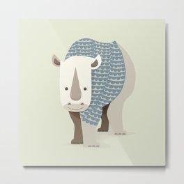 Whimsical Rhinoceros Metal Print