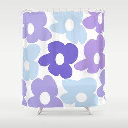 Large Purple Retro Flowers White Background #decor #society6 #buyart Shower Curtain