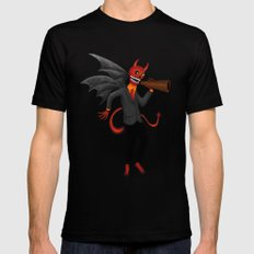 The Devil Appeared Growling Through An Old Megaphone Black 2X-LARGE Mens Fitted Tee