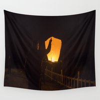 thailand Wall Tapestries featuring Sky lanterns festival,Thailand,  by LaiaDivolsPhotography