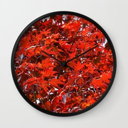 Japanese Red Maple Leaves Wall Clock