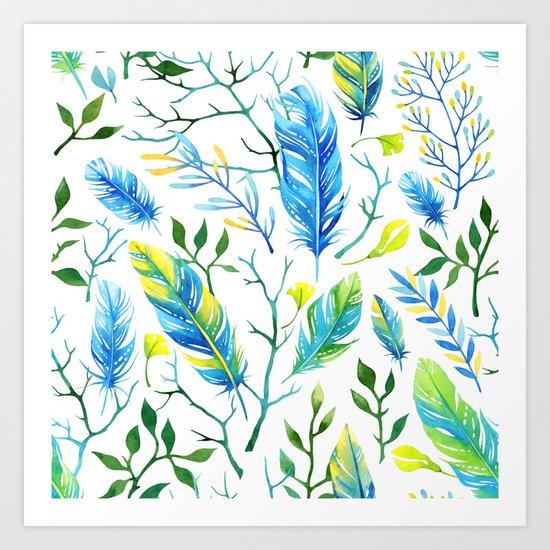 Feathers Pattern 05 Art Print