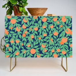 Oranges and Leaves Pattern - Navy Blue Credenza