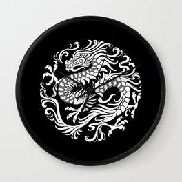 Traditional White and Black Chinese Dragon Circle Wall Clock