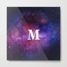 Monogrammed Logo Letter M Initial Space Blue Violet Nebulaes Metal Print