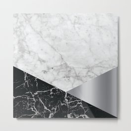White Marble Black Granite & Silver #230 Metal Print