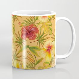 Leave And Flowers Pattern Coffee Mug