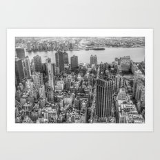 New York Manhattan buildings black and white photography Art Print