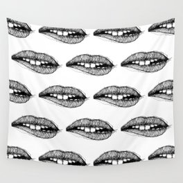 Sketchy Lips Wall Tapestry