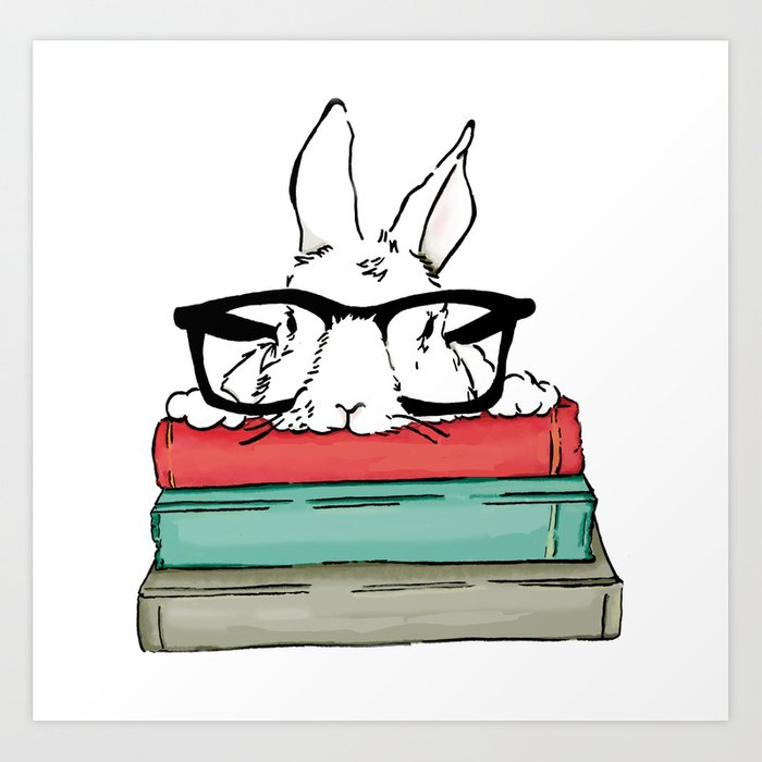 One Smart Bunny Art Print