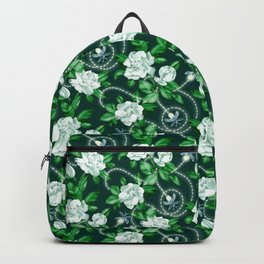Midnight Sparkles - Gardenias and Fireflies in Emerald Green Backpack