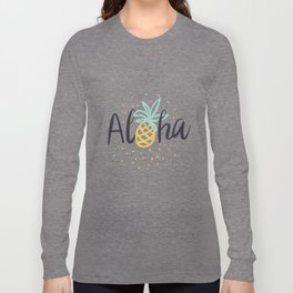 Aloha lettering and pineapple Long Sleeve T-shirt