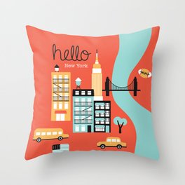 Hello New York - retro manhattan NYC icons illustration Throw Pillow