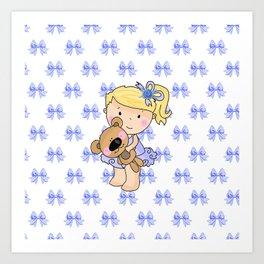 Ballerina Bessie and Her Bear Art Print