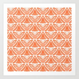 Butterfly and Flower Pattern Orange Art Print