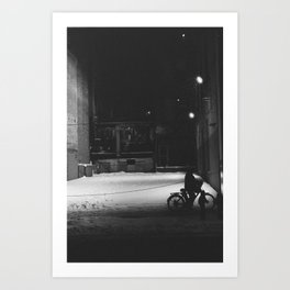 Bicycle at Night Art Print
